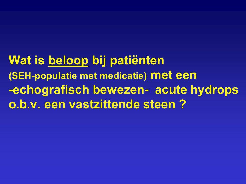 Wat is beloop bij patiënten (SEH-populatie met medicatie) met een -echografisch bewezen- acute hydrops o.b.v. een vastzittende steen ?