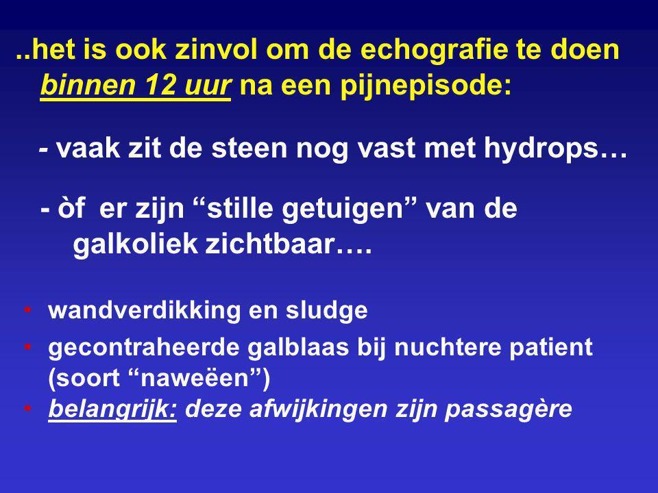 ..het is ook zinvol om de echografie te doen binnen 12 uur na een pijnepisode: wandverdikking en sludge gecontraheerde galblaas bij nuchtere patient (