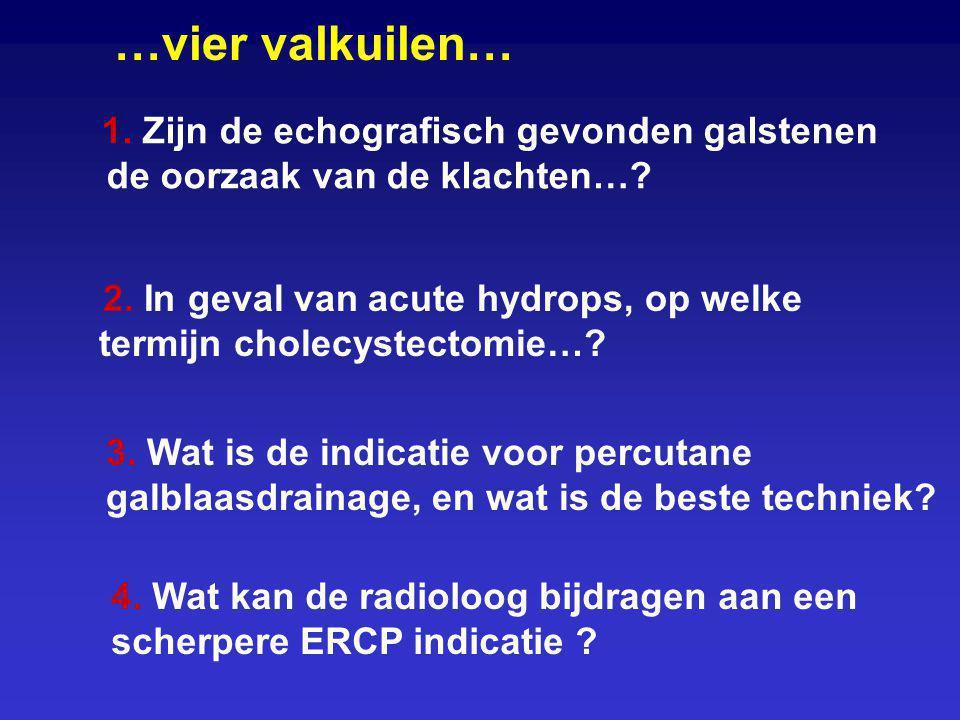 1. Zijn de echografisch gevonden galstenen de oorzaak van de klachten…? …vier valkuilen… 2. In geval van acute hydrops, op welke termijn cholecystecto