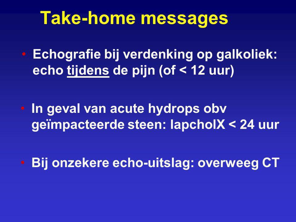 Take-home messages Echografie bij verdenking op galkoliek: echo tijdens de pijn (of < 12 uur) In geval van acute hydrops obv geïmpacteerde steen: lapc