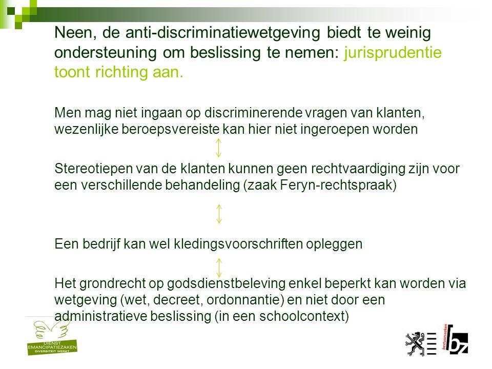 Neen, de anti-discriminatiewetgeving biedt te weinig ondersteuning om beslissing te nemen: jurisprudentie toont richting aan. Men mag niet ingaan op d