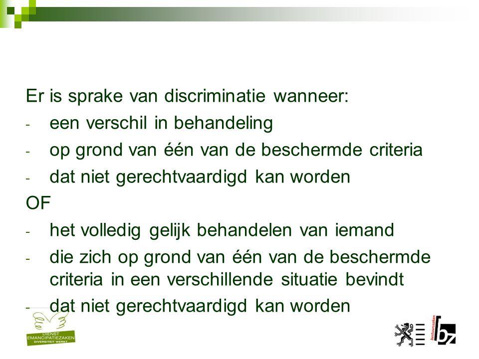 Er is sprake van discriminatie wanneer: - een verschil in behandeling - op grond van één van de beschermde criteria - dat niet gerechtvaardigd kan wor