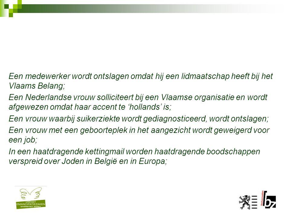 Een medewerker wordt ontslagen omdat hij een lidmaatschap heeft bij het Vlaams Belang; Een Nederlandse vrouw solliciteert bij een Vlaamse organisatie