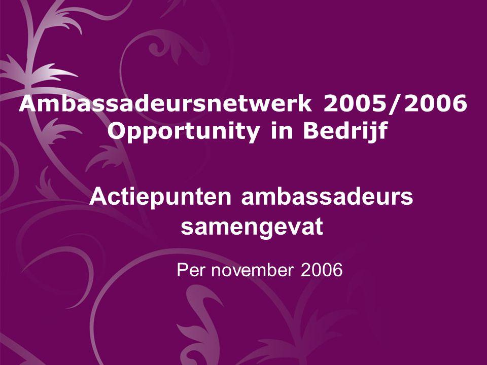 Actiepunten ambassadeurs samengevat Per november 2006 Ambassadeursnetwerk 2005/2006 Opportunity in Bedrijf