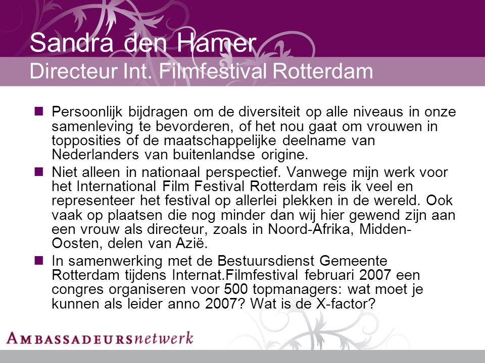 Sandra den Hamer Directeur Int.