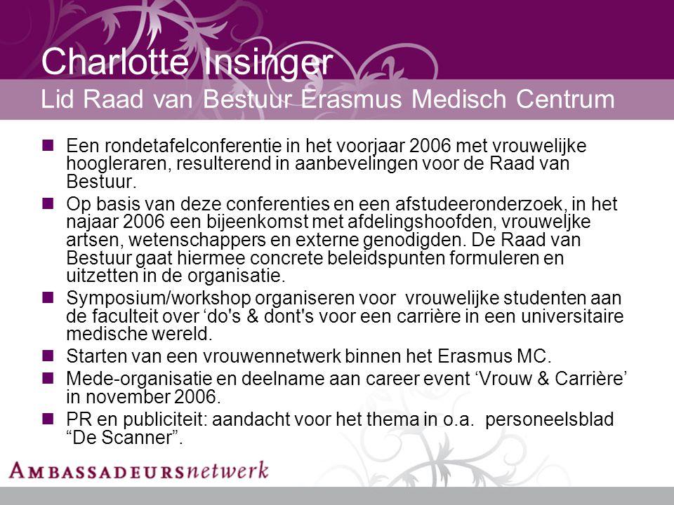 Charlotte Insinger Lid Raad van Bestuur Erasmus Medisch Centrum Een rondetafelconferentie in het voorjaar 2006 met vrouwelijke hoogleraren, resulterend in aanbevelingen voor de Raad van Bestuur.