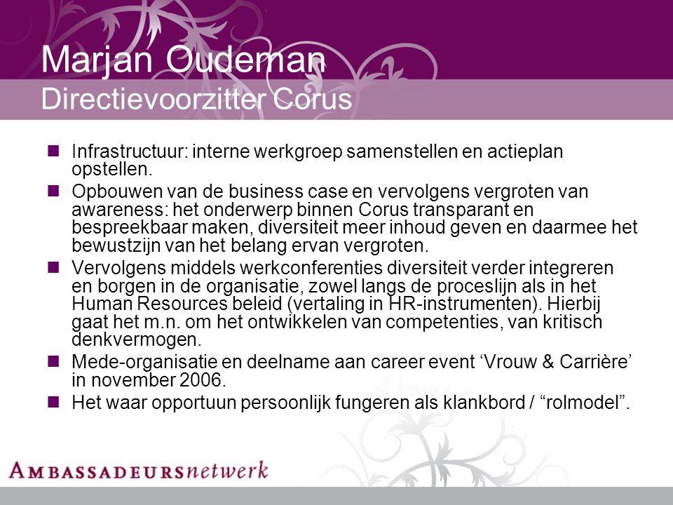 Marjan Oudeman Directievoorzitter Corus Infrastructuur: interne werkgroep samenstellen en actieplan opstellen.