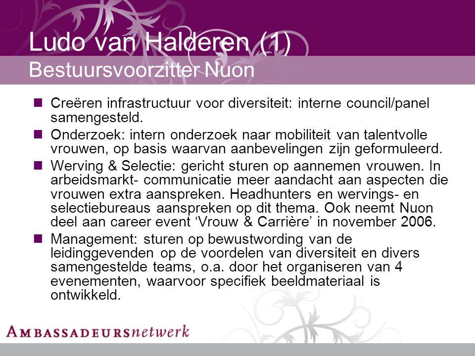 Ludo van Halderen (1) Bestuursvoorzitter Nuon Creëren infrastructuur voor diversiteit: interne council/panel samengesteld.
