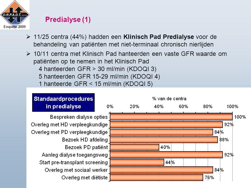 Enquête 2009 Predialyse (1)  11/25 centra (44%) hadden een Klinisch Pad Predialyse voor de behandeling van patiënten met niet-terminaal chronisch nierlijden  10/11 centra met Klinisch Pad hanteerden een vaste GFR waarde om patiënten op te nemen in het Klinisch Pad 4 hanteerden GFR > 30 ml/min (KDOQI 3) 5 hanteerden GFR 15-29 ml/min (KDOQI 4) 1 hanteerde GFR < 15 ml/min (KDOQI 5)