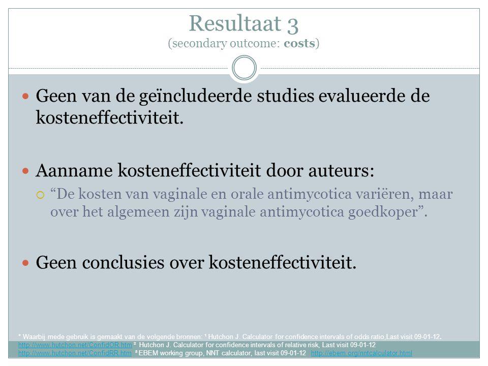 Resultaat 3 (secondary outcome: costs) Geen van de geïncludeerde studies evalueerde de kosteneffectiviteit.