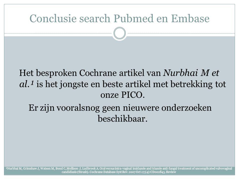 Conclusie search Pubmed en Embase Het besproken Cochrane artikel van Nurbhai M et al.¹ is het jongste en beste artikel met betrekking tot onze PICO. E