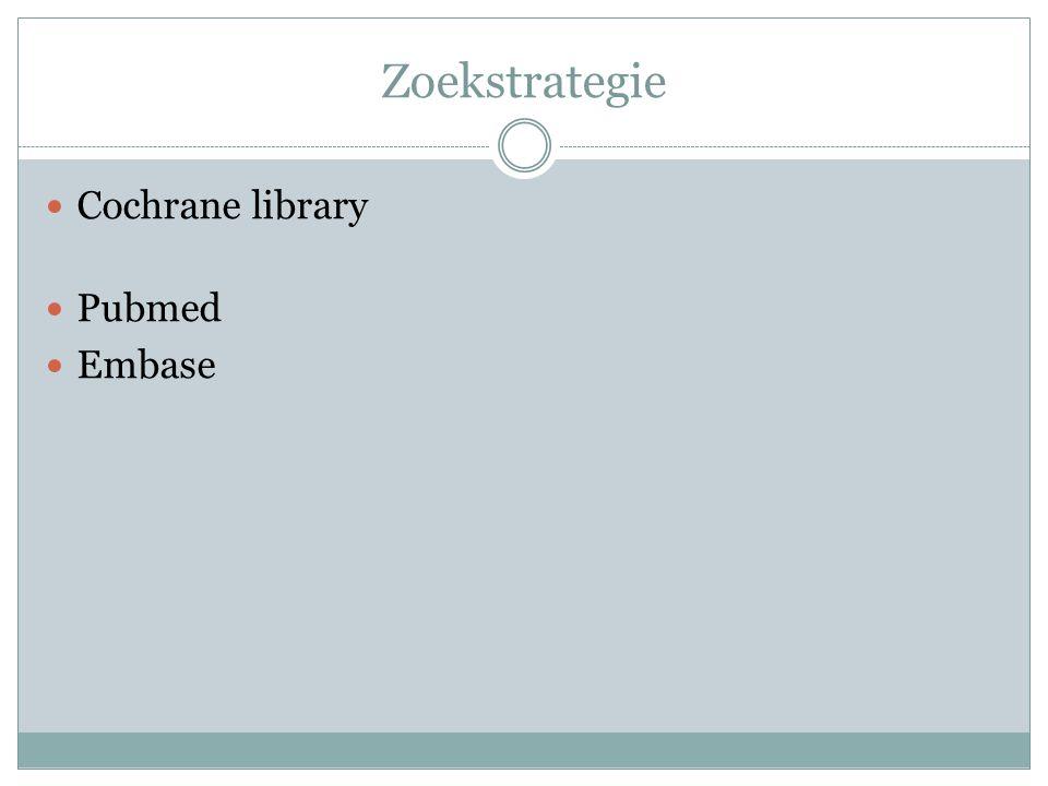 Zoekstrategie Cochrane library Pubmed Embase
