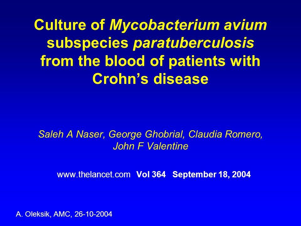 De etiologie van de ziekte van Crohn blijft onduidelijk CARD15 mutaties in 15-22% van Crohn-gevallen Er bestaat een disscussie over de betekenis van Mycobacterium avium s.