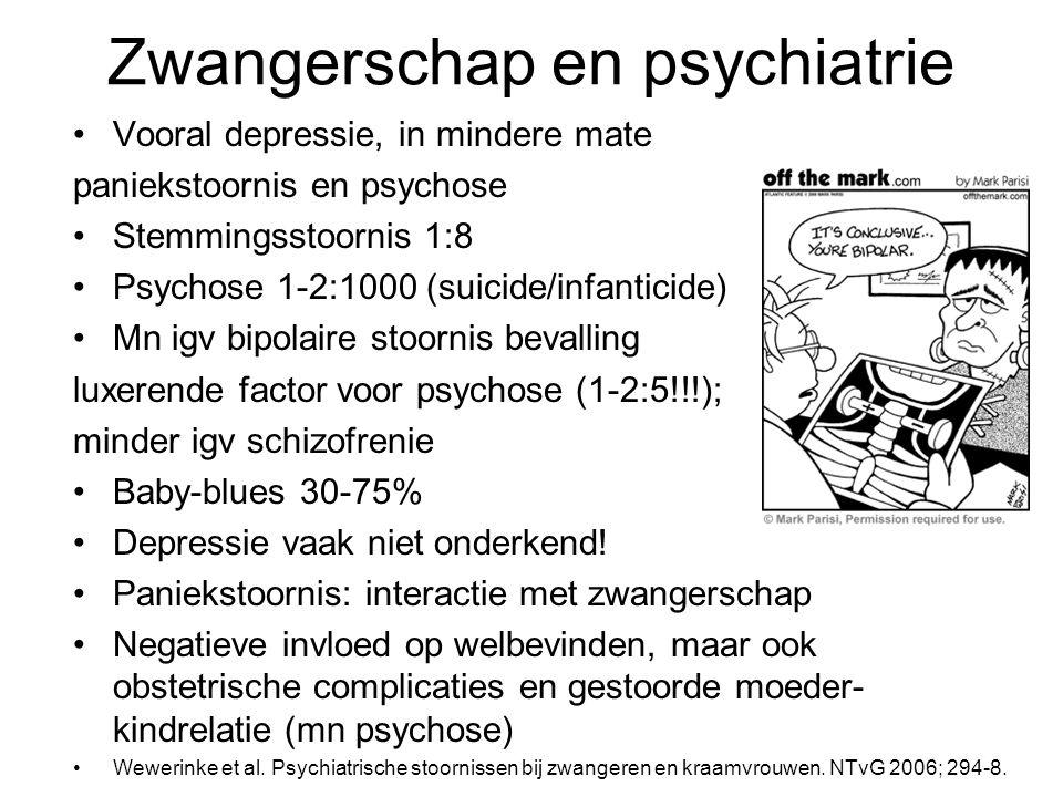 Zwangerschap en psychiatrie Vooral depressie, in mindere mate paniekstoornis en psychose Stemmingsstoornis 1:8 Psychose 1-2:1000 (suicide/infanticide) Mn igv bipolaire stoornis bevalling luxerende factor voor psychose (1-2:5!!!); minder igv schizofrenie Baby-blues 30-75% Depressie vaak niet onderkend.