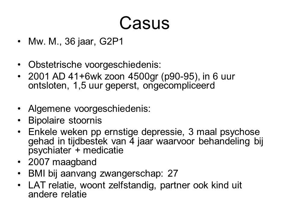 Casus Mw. M., 36 jaar, G2P1 Obstetrische voorgeschiedenis: 2001 AD 41+6wk zoon 4500gr (p90-95), in 6 uur ontsloten, 1,5 uur geperst, ongecompliceerd A