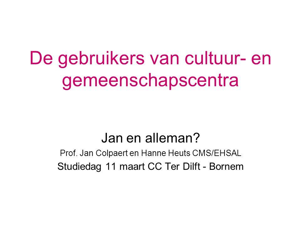 De gebruikers van cultuur- en gemeenschapscentra Jan en alleman? Prof. Jan Colpaert en Hanne Heuts CMS/EHSAL Studiedag 11 maart CC Ter Dilft - Bornem