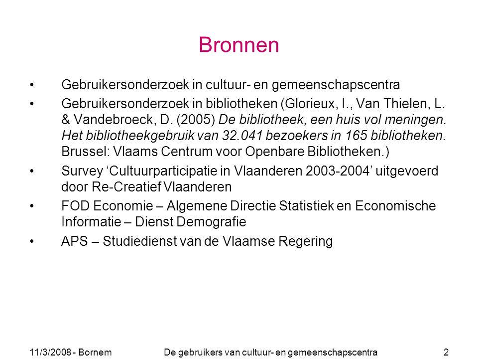 11/3/2008 - Bornem De gebruikers van cultuur- en gemeenschapscentra 2 Bronnen Gebruikersonderzoek in cultuur- en gemeenschapscentra Gebruikersonderzoe