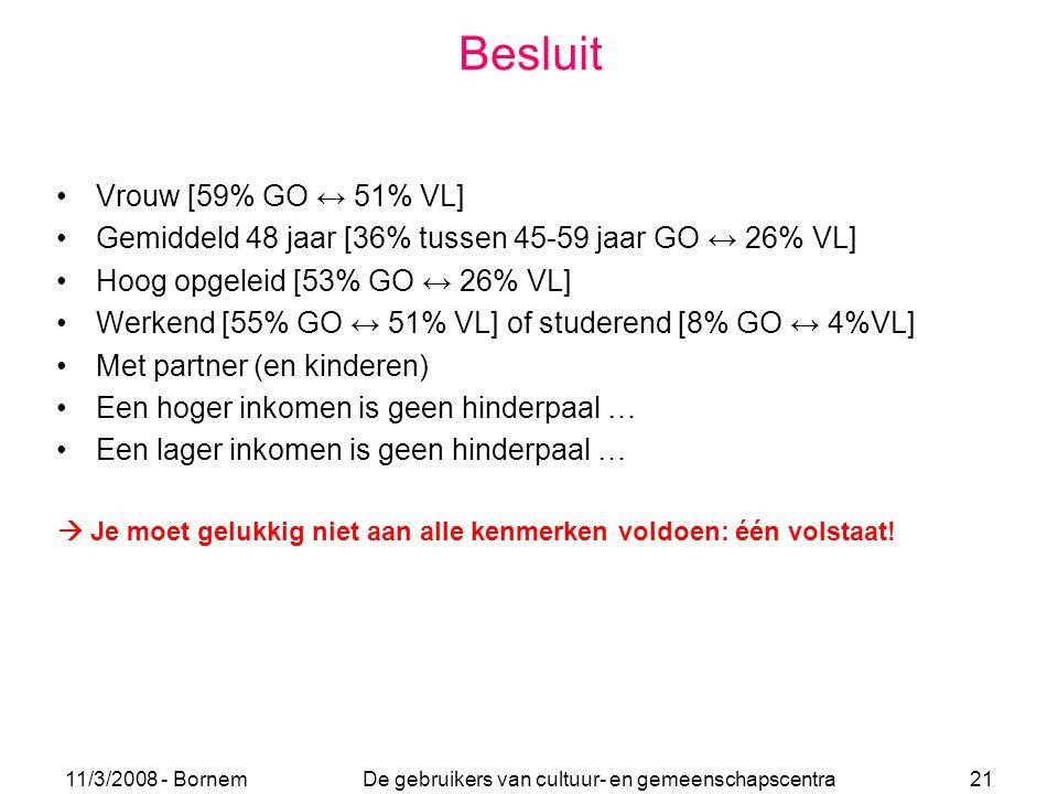 11/3/2008 - Bornem De gebruikers van cultuur- en gemeenschapscentra 21 Besluit Vrouw [59% GO ↔ 51% VL] Gemiddeld 48 jaar [36% tussen 45-59 jaar GO ↔ 2