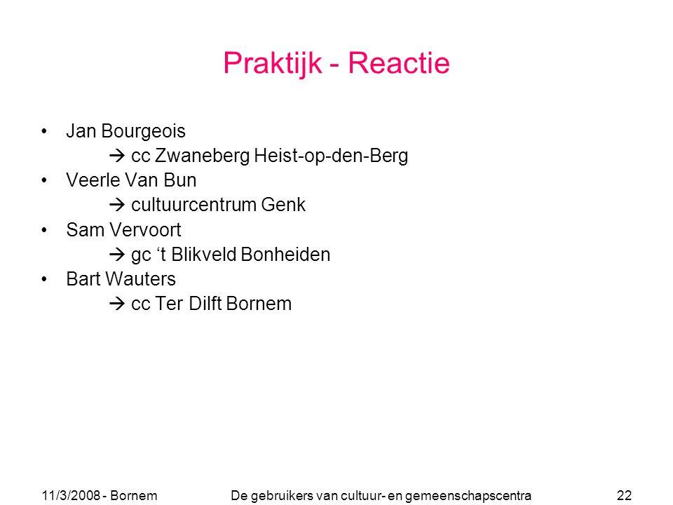 11/3/2008 - Bornem De gebruikers van cultuur- en gemeenschapscentra 22 Praktijk - Reactie Jan Bourgeois  cc Zwaneberg Heist-op-den-Berg Veerle Van Bu