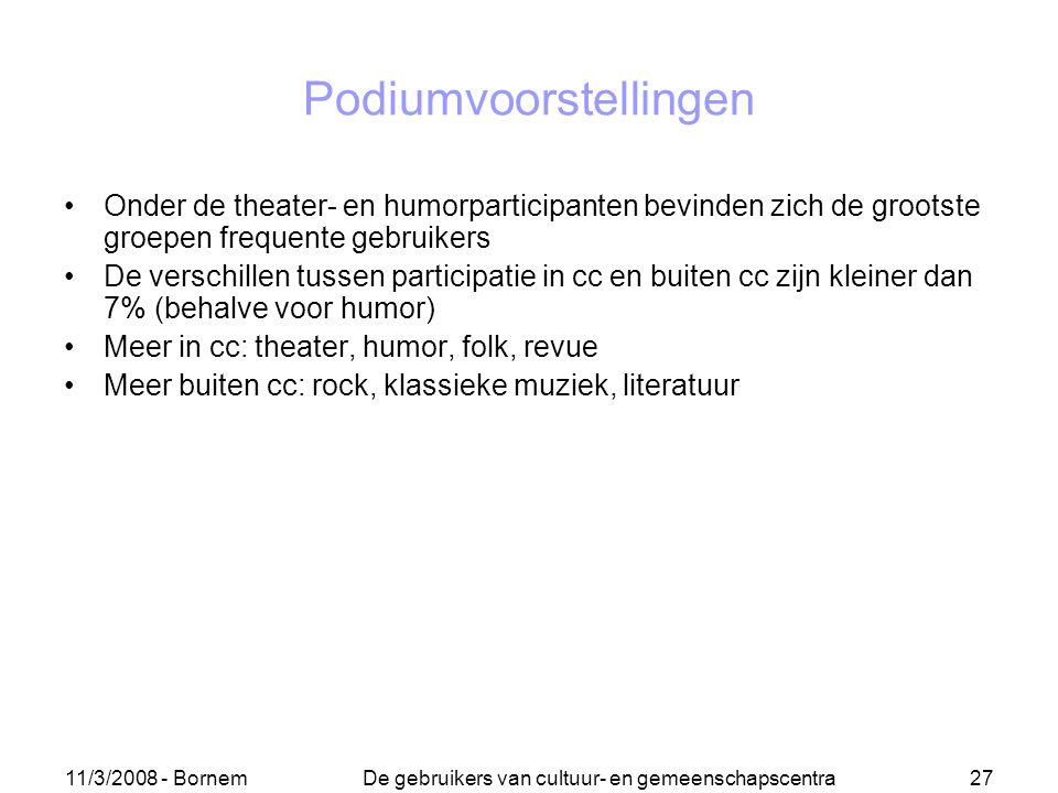 11/3/2008 - Bornem De gebruikers van cultuur- en gemeenschapscentra 27 Podiumvoorstellingen Onder de theater- en humorparticipanten bevinden zich de g