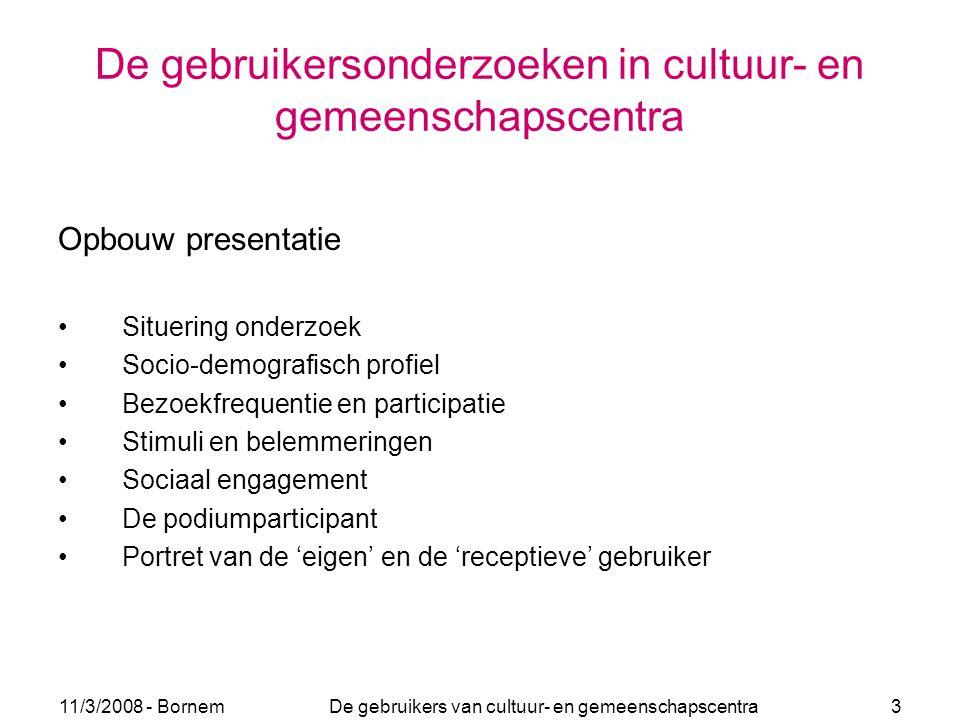 11/3/2008 - Bornem De gebruikers van cultuur- en gemeenschapscentra 3 De gebruikersonderzoeken in cultuur- en gemeenschapscentra Opbouw presentatie Si