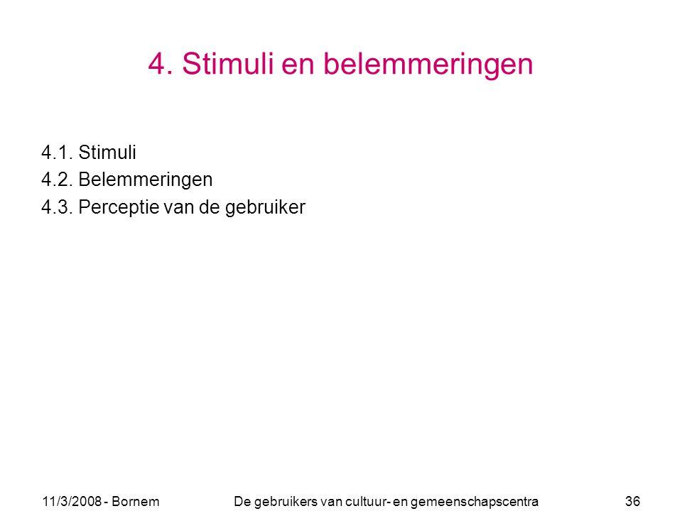 11/3/2008 - Bornem De gebruikers van cultuur- en gemeenschapscentra 36 4. Stimuli en belemmeringen 4.1. Stimuli 4.2. Belemmeringen 4.3. Perceptie van