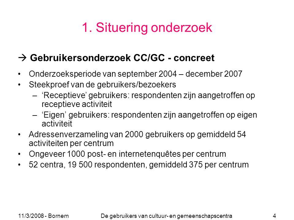 11/3/2008 - Bornem De gebruikers van cultuur- en gemeenschapscentra 4 1. Situering onderzoek  Gebruikersonderzoek CC/GC - concreet Onderzoeksperiode