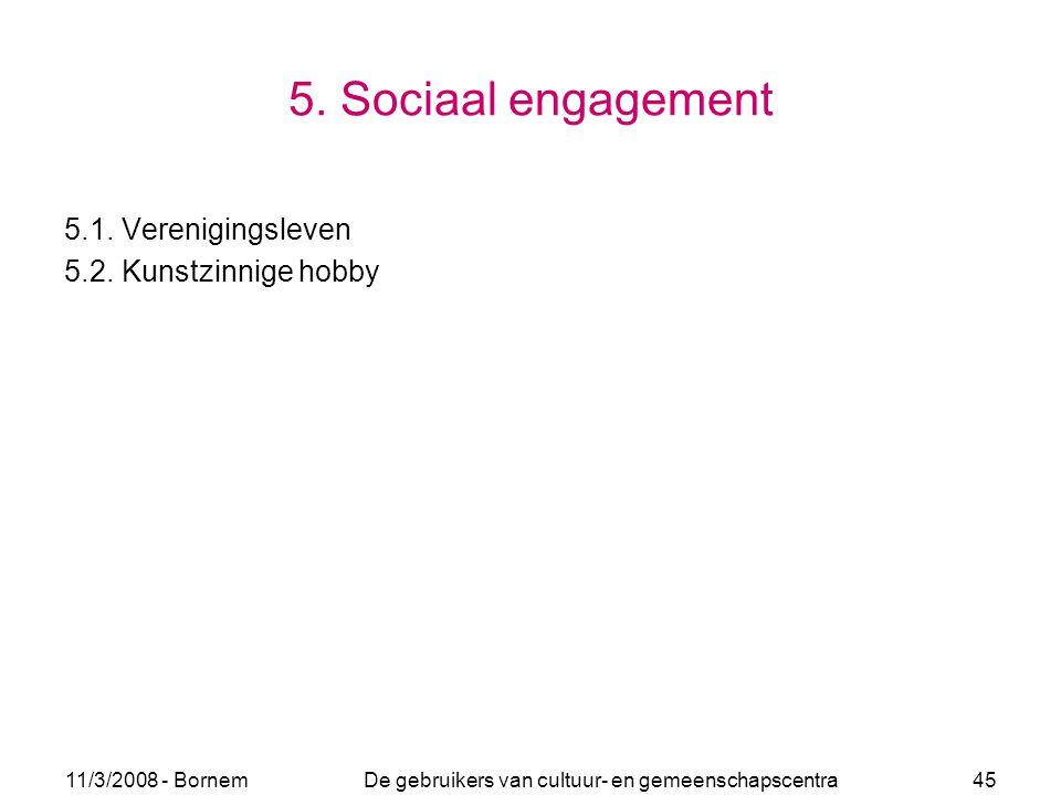 11/3/2008 - Bornem De gebruikers van cultuur- en gemeenschapscentra 45 5. Sociaal engagement 5.1. Verenigingsleven 5.2. Kunstzinnige hobby