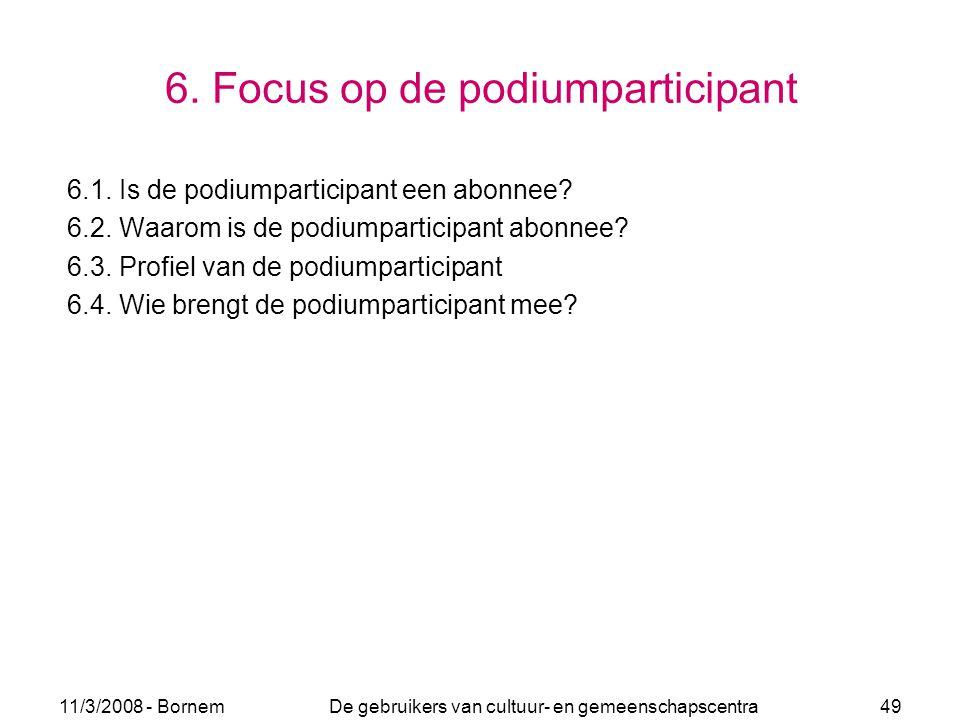11/3/2008 - Bornem De gebruikers van cultuur- en gemeenschapscentra 49 6. Focus op de podiumparticipant 6.1. Is de podiumparticipant een abonnee? 6.2.