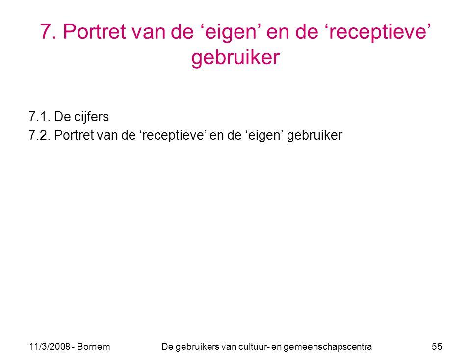 11/3/2008 - Bornem De gebruikers van cultuur- en gemeenschapscentra 55 7. Portret van de 'eigen' en de 'receptieve' gebruiker 7.1. De cijfers 7.2. Por