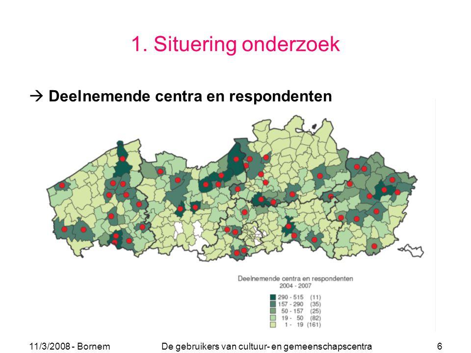 11/3/2008 - Bornem De gebruikers van cultuur- en gemeenschapscentra 6 1. Situering onderzoek  Deelnemende centra en respondenten