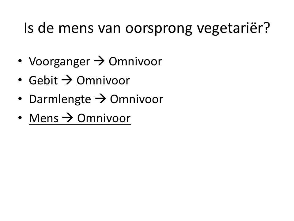 Is de mens van oorsprong vegetariër? Voorganger  Omnivoor Gebit  Omnivoor Darmlengte  Omnivoor Mens  Omnivoor