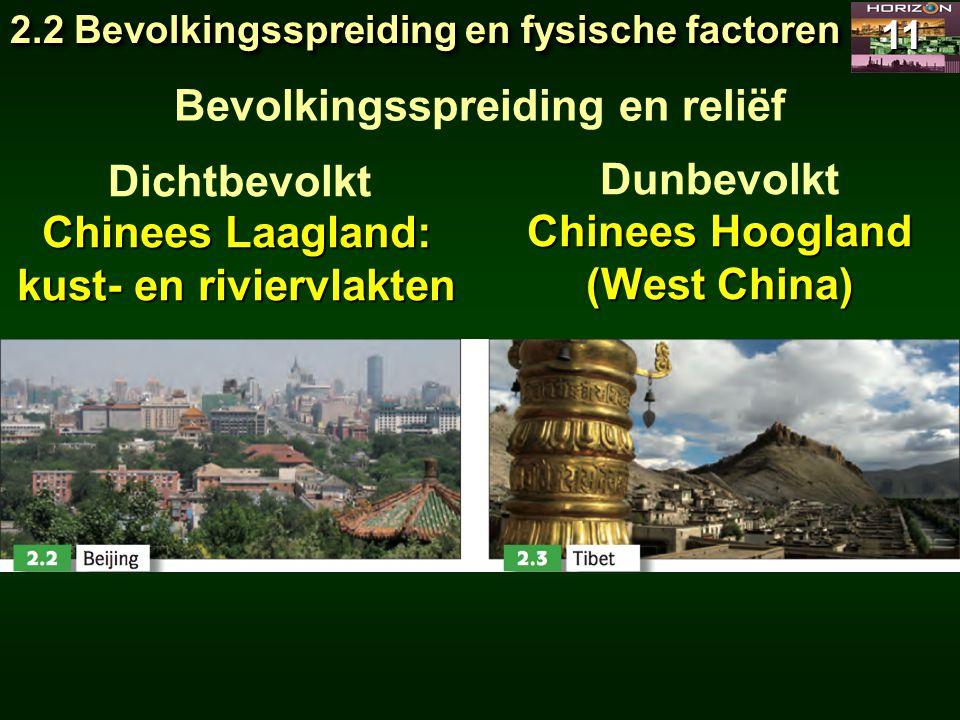 2.2 Bevolkingsspreiding en fysische factoren 11 Bevolkingsspreiding en reliëf Dichtbevolkt Dunbevolkt Chinees Laagland: kust- en riviervlakten Chinees