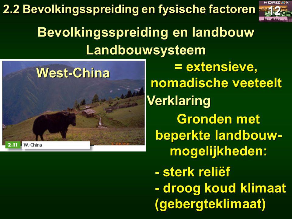 2.2 Bevolkingsspreiding en fysische factoren 12 Bevolkingsspreiding en landbouw Landbouwsysteem = extensieve, nomadische veeteelt Verklaring West-Chin