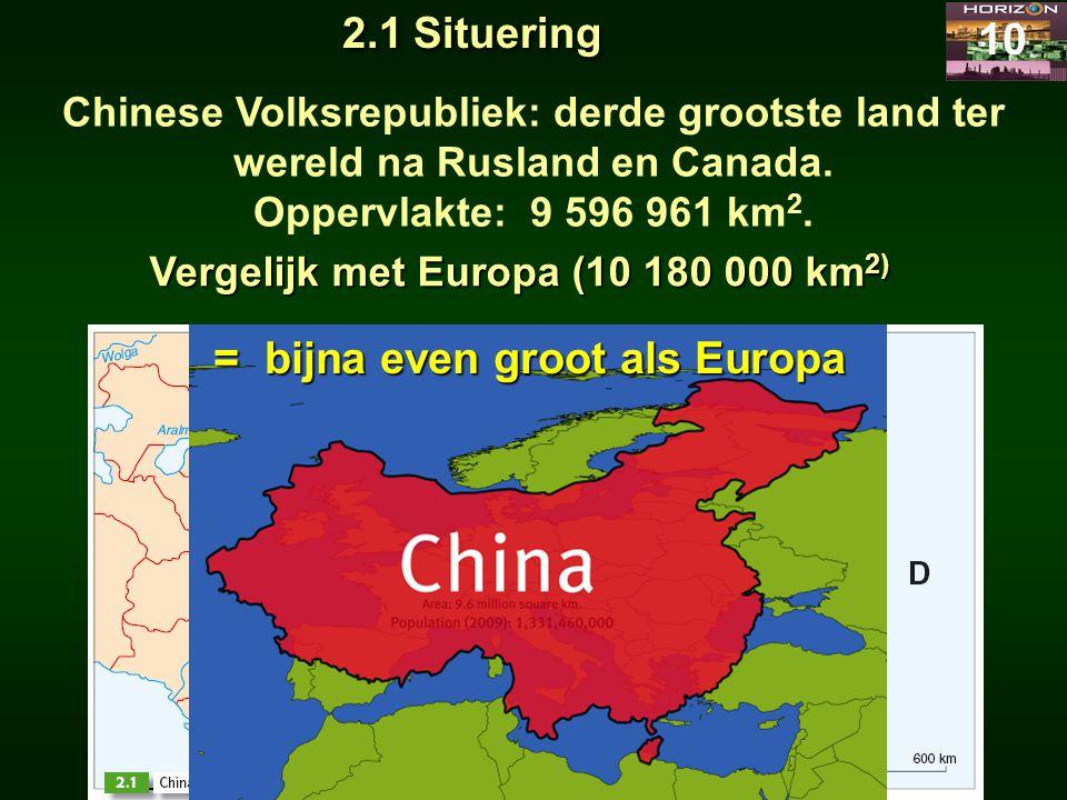 Chinese Volksrepubliek: derde grootste land ter wereld na Rusland en Canada. Oppervlakte: 9 596 961 km 2. 10 2.1 Situering Vergelijk met Europa (10 18