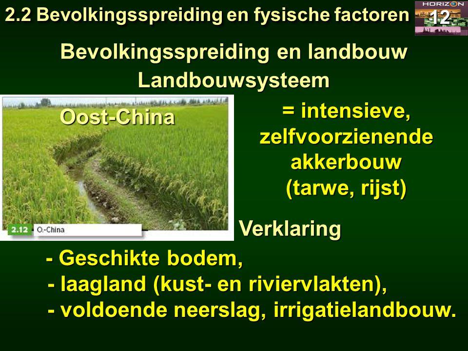 2.2 Bevolkingsspreiding en fysische factoren 12 = intensieve, zelfvoorzienende akkerbouw (tarwe, rijst) Verklaring - Geschikte bodem, - laagland (kust