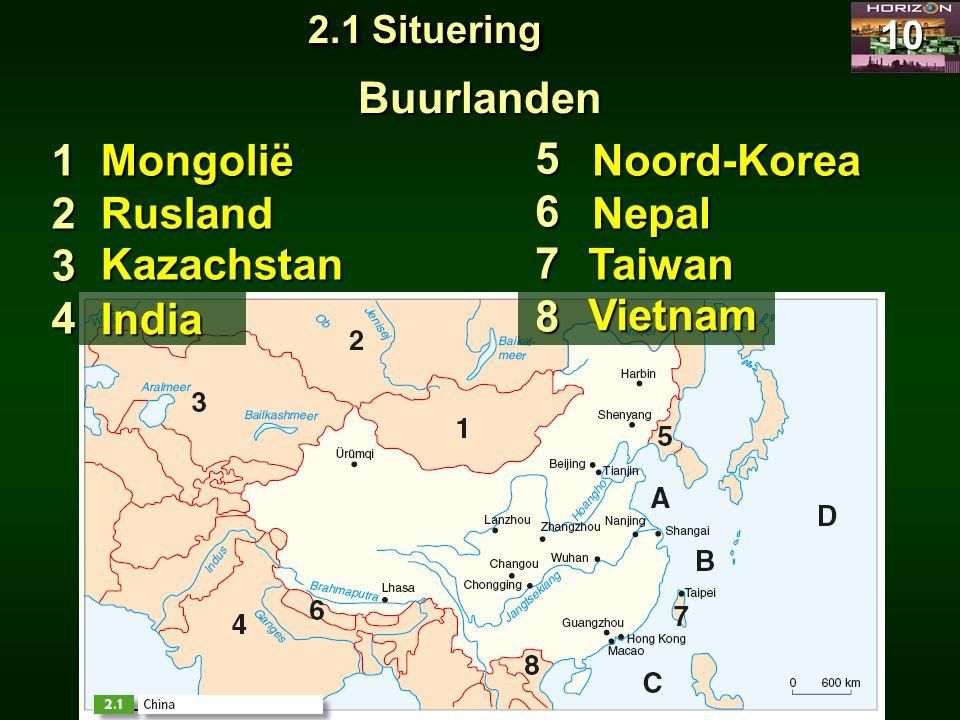10 Buurlanden 1234 5678 Mongolië Rusland Kazachstan India Noord-Korea Nepal Taiwan Vietnam