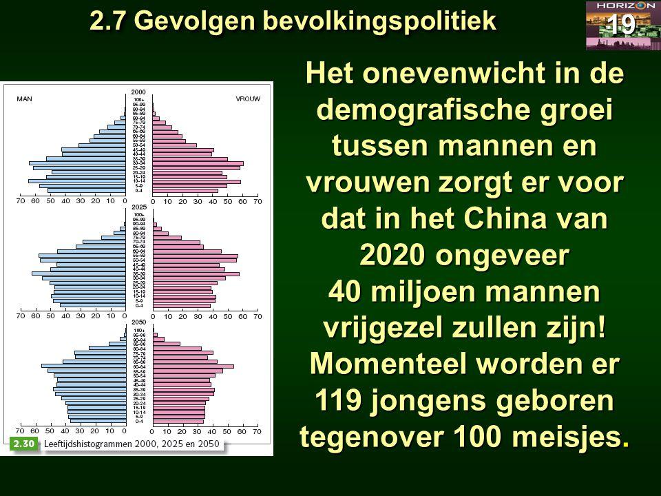 2.7 Gevolgen bevolkingspolitiek 19 Het onevenwicht in de demografische groei tussen mannen en vrouwen zorgt er voor dat in het China van 2020 ongeveer