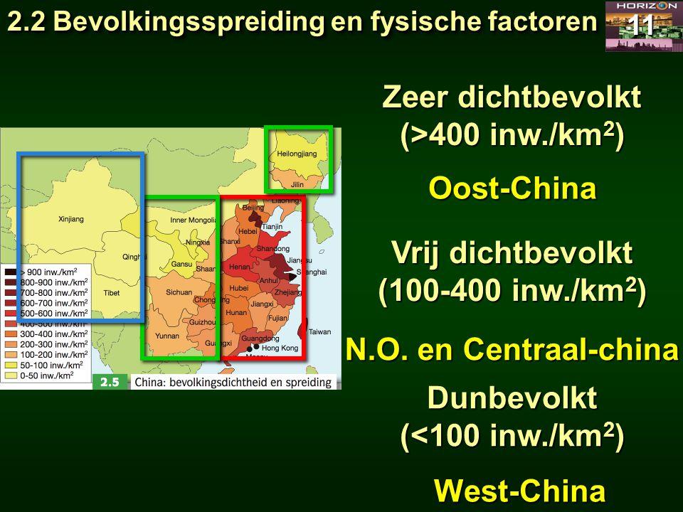 2.2 Bevolkingsspreiding en fysische factoren 11 Zeer dichtbevolkt (>400 inw./km 2 ) Vrij dichtbevolkt (100-400 inw./km 2 ) Dunbevolkt (<100 inw./km 2