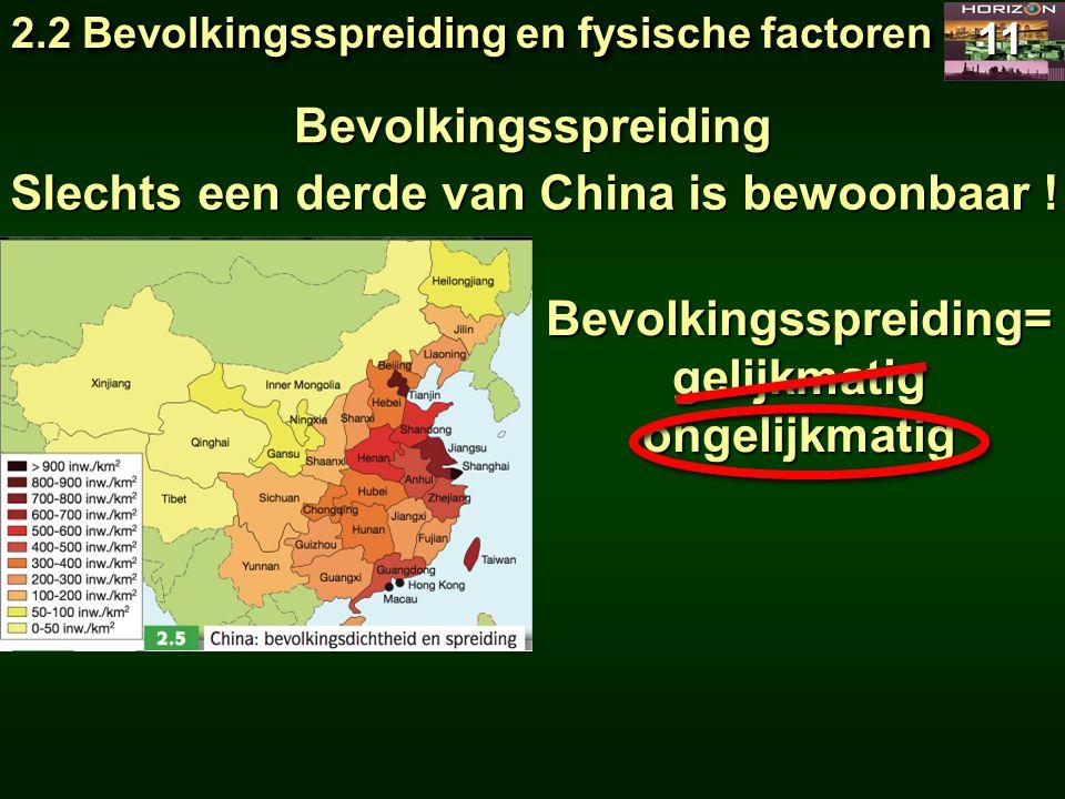 2.2 Bevolkingsspreiding en fysische factoren 11 Bevolkingsspreiding Slechts een derde van China is bewoonbaar ! Bevolkingsspreiding=gelijkmatigongelij