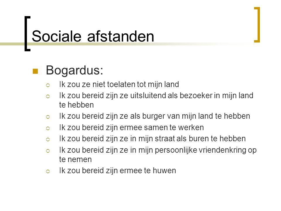 Sociale afstanden Bogardus:  Ik zou ze niet toelaten tot mijn land  Ik zou bereid zijn ze uitsluitend als bezoeker in mijn land te hebben  Ik zou b