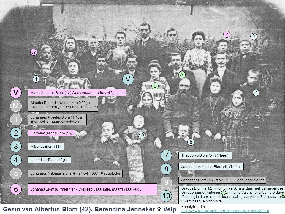 4 3 1 V M 2 Vader Albertus Blom (42) Weduwnaar – hertrouwt 3 jr later Moeder Berendina Jenneker (  39 jr) ovl. 2 maanden geleden; had 10 kinderen Joh