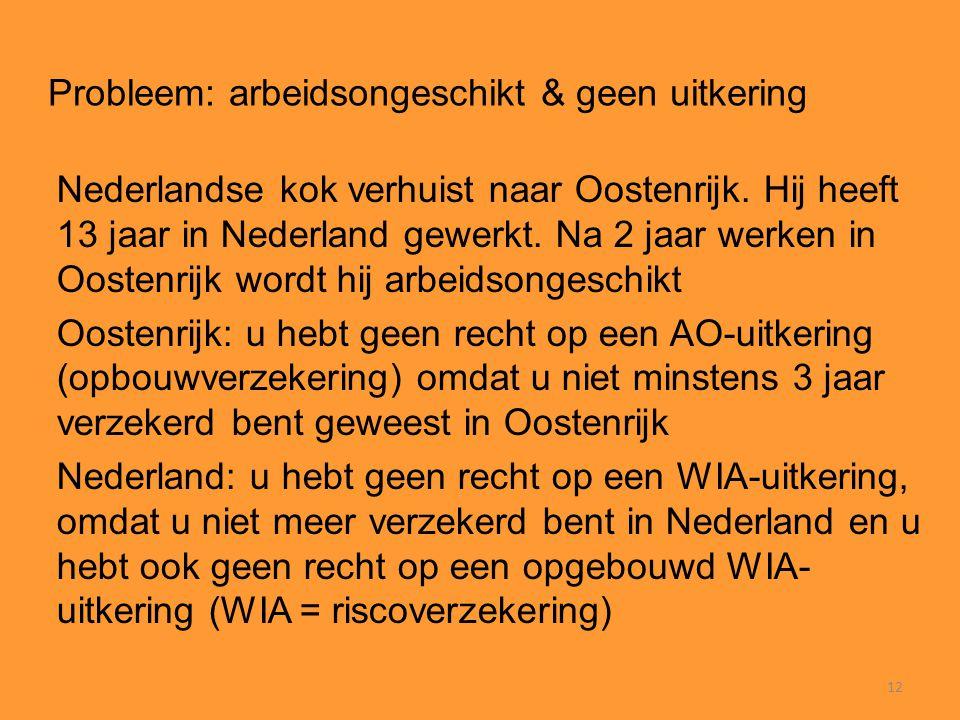 12 Probleem: arbeidsongeschikt & geen uitkering Nederlandse kok verhuist naar Oostenrijk. Hij heeft 13 jaar in Nederland gewerkt. Na 2 jaar werken in