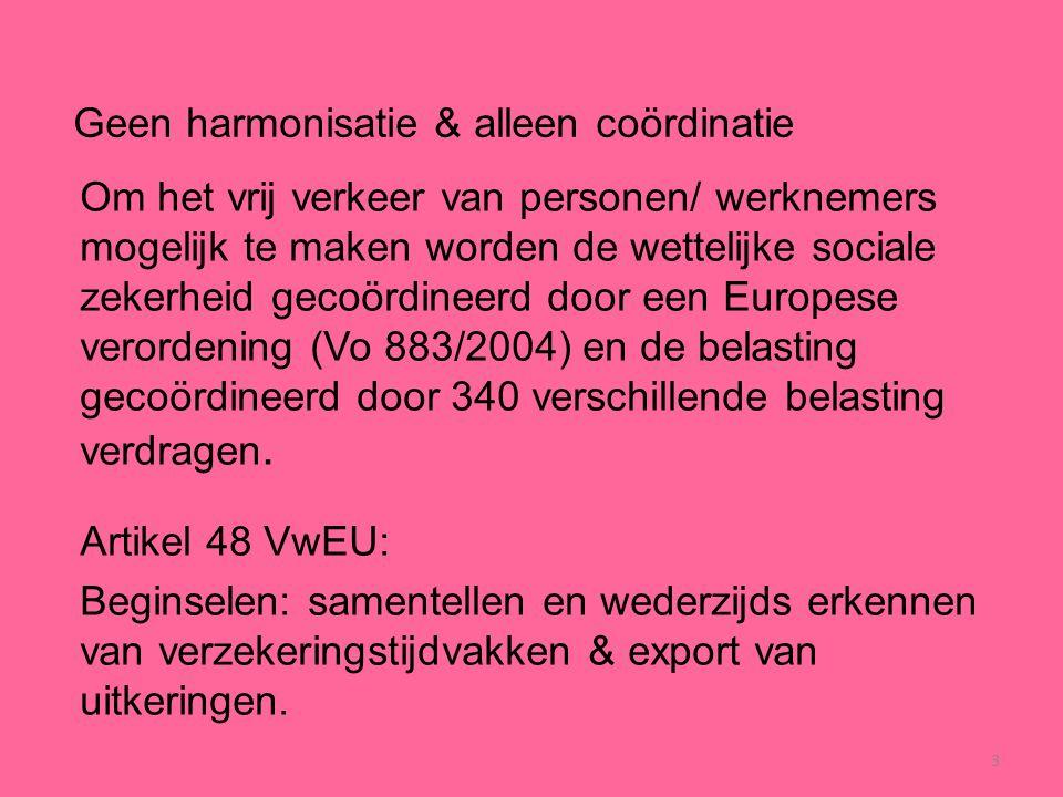 3 Geen harmonisatie & alleen coördinatie Om het vrij verkeer van personen/ werknemers mogelijk te maken worden de wettelijke sociale zekerheid gecoörd