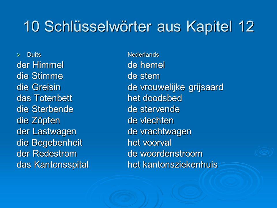 10 Schlüsselwörter aus Kapitel 12  DuitsNederlands der Himmelde hemel die Stimmede stem die Greisinde vrouwelijke grijsaard das Totenbetthet doodsbed