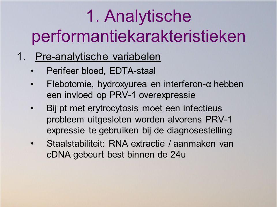 1. Analytische performantiekarakteristieken 1.Pre-analytische variabelen Perifeer bloed, EDTA-staal Flebotomie, hydroxyurea en interferon-α hebben een