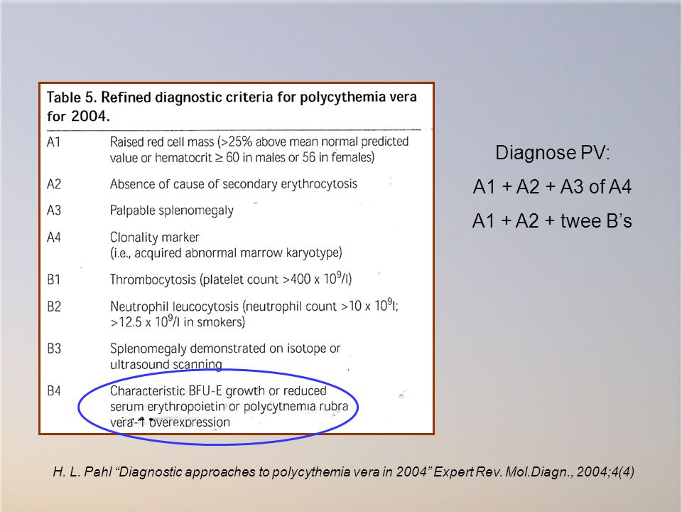 "Diagnose PV: A1 + A2 + A3 of A4 A1 + A2 + twee B's H. L. Pahl ""Diagnostic approaches to polycythemia vera in 2004"" Expert Rev. Mol.Diagn., 2004;4(4)"