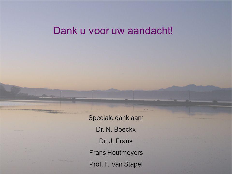 Dank u voor uw aandacht! Speciale dank aan: Dr. N. Boeckx Dr. J. Frans Frans Houtmeyers Prof. F. Van Stapel