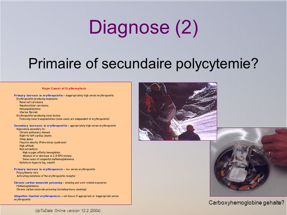 Diagnose (2) Primaire of secundaire polycytemie.Carboxyhemoglobine gehalte.