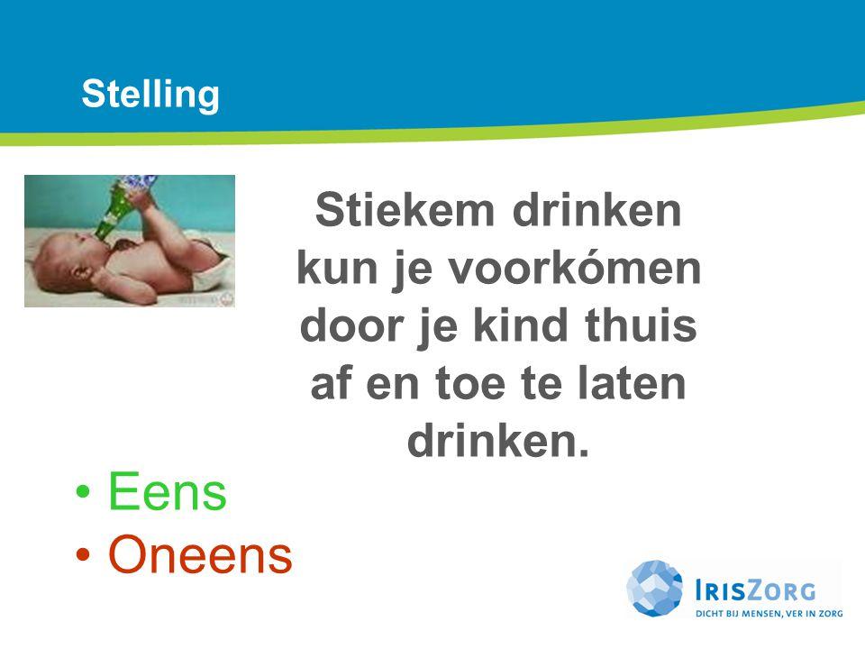 Stelling Stiekem drinken kun je voorkómen door je kind thuis af en toe te laten drinken. Eens Oneens